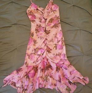 Betsey Johnson Silk Pink Rose Dress